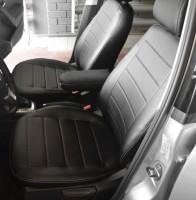 Авточехлы из экокожи S-LINE для салона Volkswagen Polo '10- седан, с деленой спинкой (AVTO-MANIA)