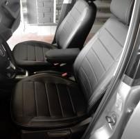 Фото 2 - Авточехлы из экокожи X-LINE для салона Volkswagen Polo '10- седан, с деленой спинкой (AVTO-MANIA)
