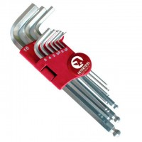 Набор Г-образных шестигранных ключей с шарообразным наконечником Cr-V HT-0603 (Intertool)