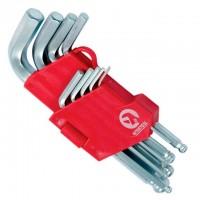 Набор Г-образных шестигранных ключей с шарообразным наконечником Cr-V HT-0605 (Intertool)