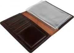 Фото 2 - Обложка для документов большая темно-коричневая, без логотипа