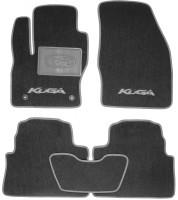 Коврики в салон для Ford Kuga '08-13 текстильные, серые (Люкс) 2 клипсы