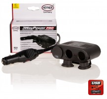 Разветвитель-розетка Alca Premium 3-WAY POWER 12V socket + USB (511 300)