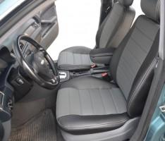 Авточехлы из экокожи S-LINE для салона Audi A6 '97-05, седан, серая вставка (AVTO-MANIA)