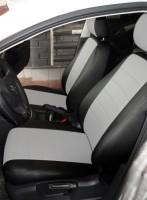Авточехлы из экокожи L-LINE для салона Volkswagen Jetta V '06-10, седан, белая вставка (AVTO-MANIA)