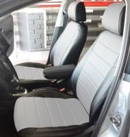 Авточехлы из экокожи X-LINE для салона Volkswagen Polo '10- седан, с деленой спинкой, белая вставка (AVTO-MANIA)