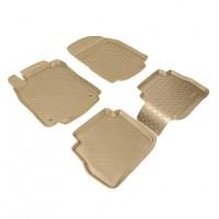 Коврики в салон для Nissan Tiida '05-14 полиуретановые, бежевые (Nor-Plast)