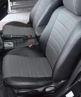 Авточехлы из экокожи S-LINE для салона Mazda 3 '04-09, хетчбек, серая вставка (AVTO-MANIA)