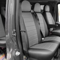 Авточехлы из экокожи L-LINE для салона Ford Transit '06-13 (1+2) серая вставка (AVTO-MANIA)