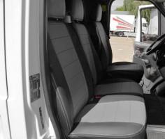 Авточехлы из экокожи S-LINE для салона Ford Transit '06-13 (1+2) серая вставка (AVTO-MANIA)