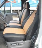 Авточехлы из экокожи S-LINE для салона Ford Transit '06-13 (1+2) бежевая вставка (AVTO-MANIA)