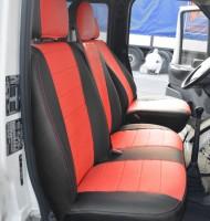 Авточехлы из экокожи S-LINE для салона Ford Transit '06-13 (1+2) красная вставка (AVTO-MANIA)
