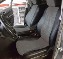 Авточехлы из экокожи S-LINE для салона Chevrolet Orlando '11-13, 7 мест, серая вставка, синяя строчка, алькантара (AVTO-MANIA)