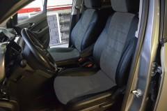 Авточехлы из экокожи X-LINE для салона Chevrolet Orlando '11-, 7 мест, серая вставка, синяя строчка (AVTO-MANIA)