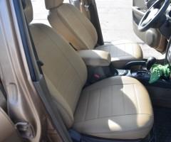 Авточехлы из экокожи S-LINE для салона Hyundai Santa Fe '06-12 CM, бежевые (AVTO-MANIA)