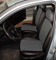 Авточехлы из экокожи S-LINE для салона Volkswagen Golf IV '97-03, серая вставка, красная строчка (AVTO-MANIA)