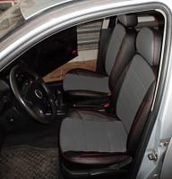 Авточехлы из экокожи X-LINE для салона Volkswagen Golf IV '97-03, серая вставка, красная строчка (AVTO-MANIA)