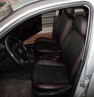 Авточехлы из экокожи X-LINE для салона Volkswagen Golf IV '97-03, красная строчка (AVTO-MANIA)