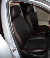 Авточехлы из экокожи S-LINE для салона Volkswagen Bora '99-05, седан, красная строчка (AVTO-MANIA)