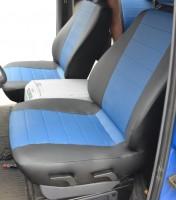 Авточехлы из экокожи L-LINE для салона Mercedes Vito '96-03 (1+1) синяя вставка (AVTO-MANIA)