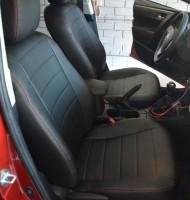 Авточехлы из экокожи S-LINE для салона Toyota Corolla '13-, красная строчка (AVTO-MANIA)