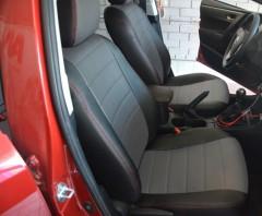 Авточехлы из экокожи S-LINE для салона Toyota Corolla '13-, серая вставка, красная строчка (AVTO-MANIA)