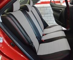 Авточехлы из экокожи X-LINE для салона Toyota Corolla '13-, белая вставка, красная строчка (AVTO-MANIA)