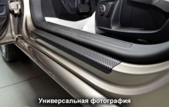 Фото 2 - Накладки на пороги карбон для Hyundai Tucson '15- (Premium+k)