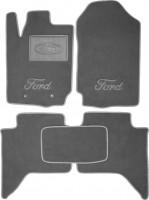 Коврики в салон для Ford Ranger T6 '11- текстильные, серые (Премиум) 2 клипсы