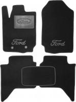 Коврики в салон для Ford Ranger T6 '11- текстильные, черные (Люкс) 2 клипсы