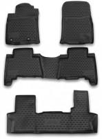 Коврики в салон для Toyota Land Cruiser Prado 150 '13- полиуретановые, черные (Novline / Element) 1+2+3 ряд