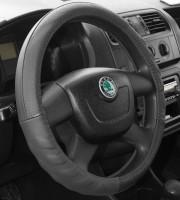 Чехол на руль черный с перфорированными вставками, кожа B136 M BK