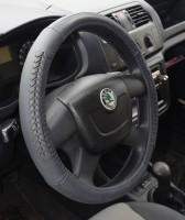 Фото 3 - Чехол на руль черный с декоративными вставками, кожа B402 M