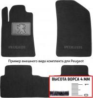 Коврики в салон для Peugeot Partner '08-, передние текстильные, черные (Люкс)