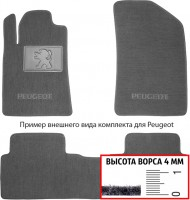 Коврики в салон для Peugeot Partner '08-, передние текстильные, серые (Люкс)