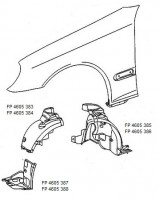 Подкрылок передний правый для Mercedes C-Class W203 '00-07 зaдняя часть (FPS)