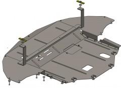 Защита двигателя и КПП, радиатора для Hyundai Sonata '15-, V-1,6i; 2,0i; 2,4i, АКПП, МКПП (Кольчуга) Zipoflex