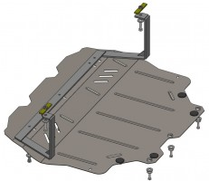 Защита двигателя и КПП, радиатора для Volkswagen Jetta VI '10-, V-все, АКПП, МКПП (Кольчуга)