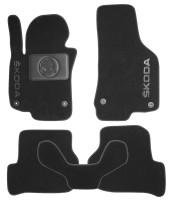 Коврики в салон для Skoda Octavia A5 2005 - 2013 текстильные, черные (Nubuck) 4 клипсы