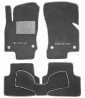 Коврики в салон для Skoda Octavia A7 с 2013 текстильные, серые (Премиум) 4 клипсы