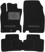 Коврики в салон для Nissan Qashqai с 2014 текстильные, черные (Премиум) 2 клипсы