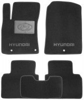 Коврики в салон для Hyundai Elantra AD с 2016 текстильные, черные (Люкс)