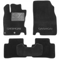 Коврики в салон для Nissan Qashqai с 2014 текстильные, черные (Люкс) 2 клипсы