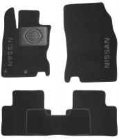 Коврики в салон для Nissan Qashqai с 2014 текстильные, черные (Nubuck) 2 клипсы
