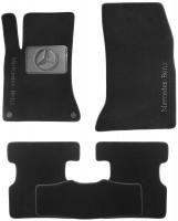 Коврики в салон для Mercedes GLA X156 c 2013 текстильные, черные (Nubuck) 2 клипсы