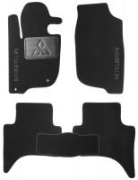 Коврики в салон для Mitsubishi L200 с 2016 текстильные, черные (Nubuck) короткая база