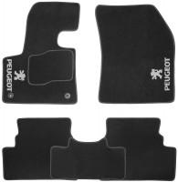 Коврики в салон для Peugeot 3008 с 2017 текстильные, черные (Nubuck) 2 клипсы