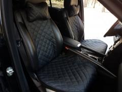 Накидки на сидения из экокожи АVторитет Премиум, черные (комплект)