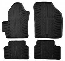 Коврики в салон для Chevrolet Spark 2005 - 2008 резиновые, черные (GledRing)