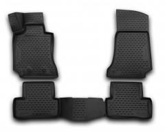 Коврики в салон 3D для Mercedes C-class W205 с 2014 полиуретановые, черные (Novline / Element)